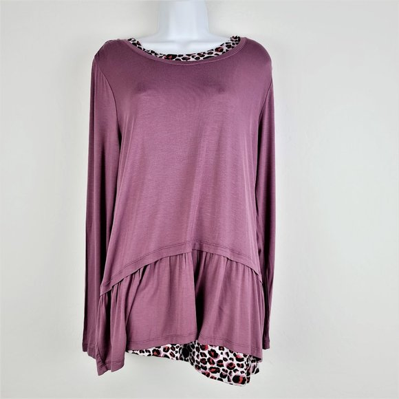 LOGO Blouse L 2 Piece Attached Tank Long Sleeve
